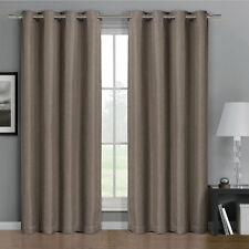 Gulfport Grommet Faux Linen Blackout Weave Window Curtains Drape Single Panel
