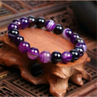 Fashion Natural Stone Love Purple Agate Bead Bracelet Charm Jewelry Gift Women