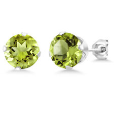 2.00 Ct Green Peridot Gemstone 925 Sterling Silver Stud Earrings 6MM