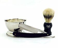 4 PC Wet Cut Throat Straight Razor, Cup, Soap, Bristle Shaving Brush Set for Him