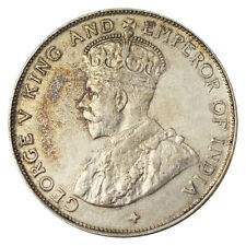 STRAITS SETTLEMENTS 50 CENTS KING GEORGE V KM# 35 SILVER aUNC KEY DATE 1920