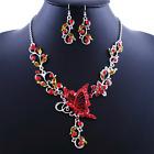 Mariposa Estrás rojo collar pendiente DECORACION DE JOYERÍA NUPCIAL adorno traje