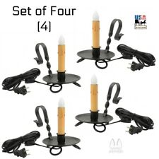 4 COLONIAL WINDOW CANDLE LIGHTS Set Four Wrought Iron Electric Sill Candles USA