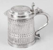 """Antique Queen Anne Anglais Argent Couvercle Tankard """"LE""""1703"""
