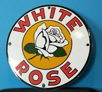VINTAGE WHITE ROSE GASOLINE PORCELAIN TEXAS GAS SERVICE STATION PUMP PLATE SIGN
