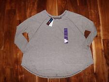 NWT Womens TOMMY HILFIGER Sport Brown Striped Lounge Sweatshirt XXL $59