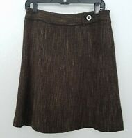Ann Taylor Loft  Brown Career Knee-Length Flare Skirt Wool Blend
