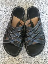 Born Womens Size 7 Black Woven Leather Slides Sandals mules Slip On Shoes W3056