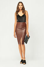 River Island Chocolate Brown Faux Leather Pencil Skirt UK10 - 12 Brand new
