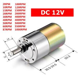 DC 12V 2RPM- 1000RPM High Torque Electric Gear Box Motor Speed Reduction  ❤