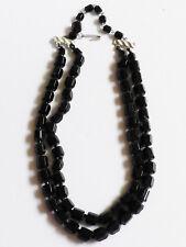 """VTG Japan Elegant black Jet glass 2 strand necklace 17.75""""L"""