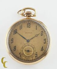 Waltham Colonial Series Open Face 14K Yellow Gold Pocket Watch 14s 19 Jewel