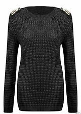 Womens Studded Spikes Shoulder Ladies Girls Knitted Jumper Sweater Top Size 8-14