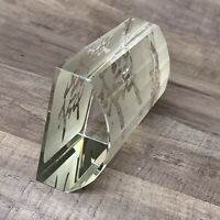 Art Glass Paperweight  Asian Japanese Lettering Etched Clear Prism Decor