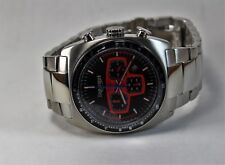 Triumph Men's Sports Watch, Stainless Steel Case, Black/Red Chrono Dial