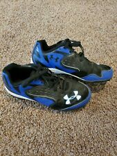 Boys Under Armour baseball cleats size 1.5, Youth Boys Cleats Black Blue shoes
