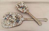 Vintage 50's Diamante Pearl Jewel Encrusted Dressing Table Mirror & Brush Set