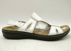 Clarks White Leather Adjustable Slingback Sandals Shoes Women's 8 M