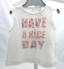 Zara tee-shirt blanc sans manche à volant avec motif inscription bébé 3-6 mois