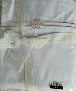 Pottery Barn Emilia Embroidered Organic Percale Sheet Set Full Size Blush Pink