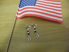"""NEW"" CLIP-ON TIBETAN SILVER 4TH OF JULY STAR EARRINGS, PRETTY GLASS BEADS"