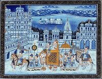 Maharaja Royal Army Procession Art On Cloth - Rajput Painting Mughal Style