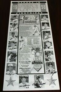 Heroes in Pinstripes Fantasy Camp Promo Poster signed by 15 former Yankees! JSA