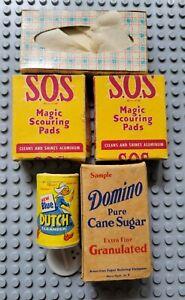 Vintage Miniature dollhouse Blue Dutch Cleanser Domino Sugar SOS Pads Scotties