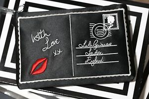 New Black Satin GENUINE Lulu Guinness 'Postcard' Zip Top Purse RRP £65 Gift