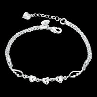 Women Jewelry Bangle Chain Bracelet 925 Sterling Solid Silver Crystal Cuff Trend