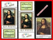 Mona Lisa / LOUVRE  mnh Leonardo da Vinci  paintings = 3 different ISSUES