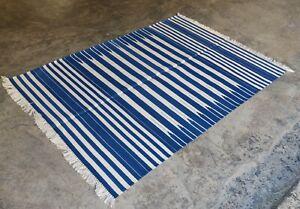 Handwoven Yoga Rug 4'x6' Blue & White Reversible Cotton Dhurrie Flat Weave Kilim