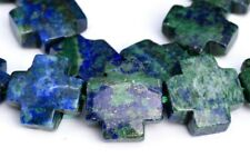 "18x18MM Azurite Cross Grade AAA Natural Gemstone Loose Beads 8"""
