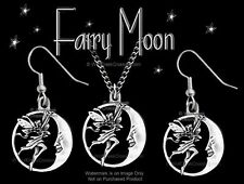 Fairy Moon Necklace & Earrings Set Fairies Fantasy Jewelry Gift - Free Ship #24C