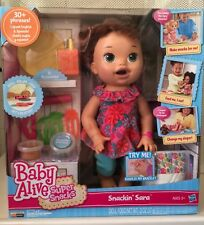 Baby Alive Super Snacks Snackin' Sara Brunette Doll Officially Licensed NEW