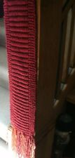 Handmade Knit Burgundy Scarf /Multi Colored Fringes/51 Inches Long/6 Inches Wide