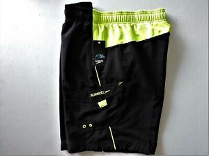 """Speedo Men's Volley Swim Trunks Black & Bright Green Size 2XL Inseam 9"""" NWT"""