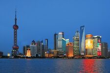 SHANGHAI NIGHT CITYSCAPE POSTER STYLE C 24x36 HI RES