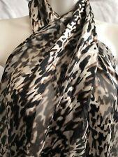Brown, Beige Black Animal, Satin Look & Sheer Stripe Fabric Scarf, Smart