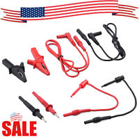 Digital Electronic Multimeter Kit 8pcs Alligator Clip Probe Automotive Test Lead