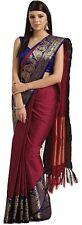 Women's Kanchipuram Cotton Silk Saree With Unstitched Blouse Piece