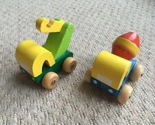 Two Wooden Construction Vehicles Toys Cement Mixer Wooden Cars