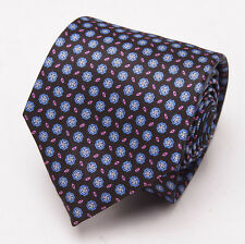 NWT $230 BRIONI Slim Satin Silk Tie Brown-Sky Blue Jewel Medallion Print