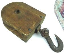 Antique Farm House Barn Pulley Wooden Architectural Salvage Industrial Trolley