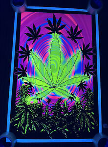 "Vtg 2003 BUD Marijuana Sublime Flocked Blacklight 35""x23"" Poster Punk Rock Weed"