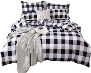 CoutureBridal Buffalo Plaid Duvet Cover Set King Size Gingham Grey and White Pre