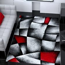 Alfombra moderna de diseño gris y roja muy tupida para el salón