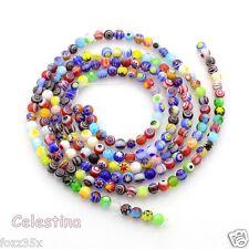 50 x 4mm Millefiori Round Flower Pattern Glass Beads Mixed Designs - GB52