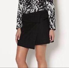Witchery black wool blend short wrap skirt - AS NEW - 8