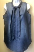 NWOT Kenneth Cole Women's M Blue Denim Chambray Tie Neck Sleeveless Blouse Top